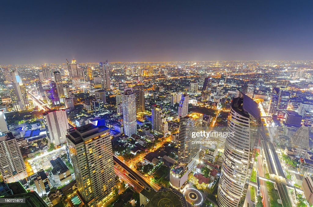 Aerial cityscape view in Asia