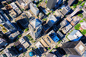 A view from directly above the center of downtown Seattle, Washington from an altitude of about 400 feet.