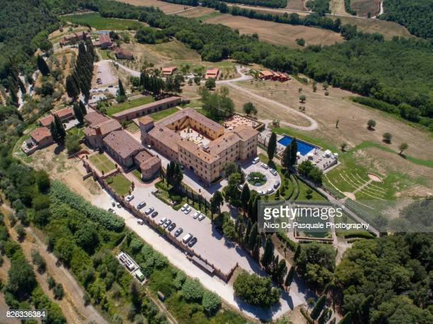 Aerial drone view of Casole Castle