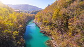 Aerial Drone view of Soca - Isonzo river in the Triglav National Park Slovenia