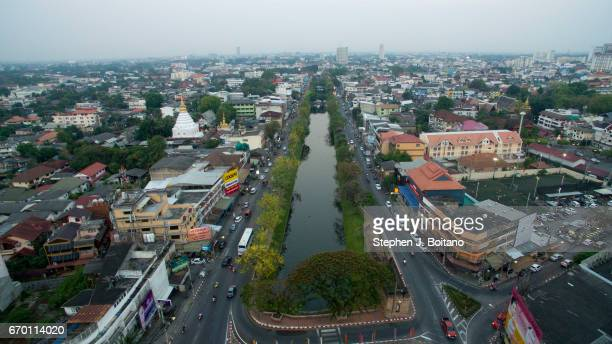 Aerial drone view over the moat in the Old City of Thailand' second largest city Chiang Mai