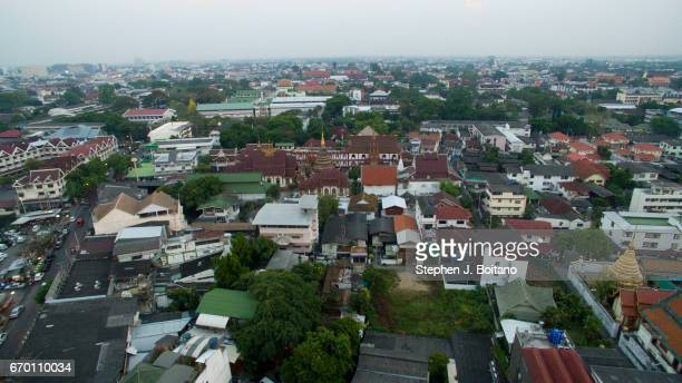 Aerial drone view over the Old City of Thailand' second largest city Chiang Mai