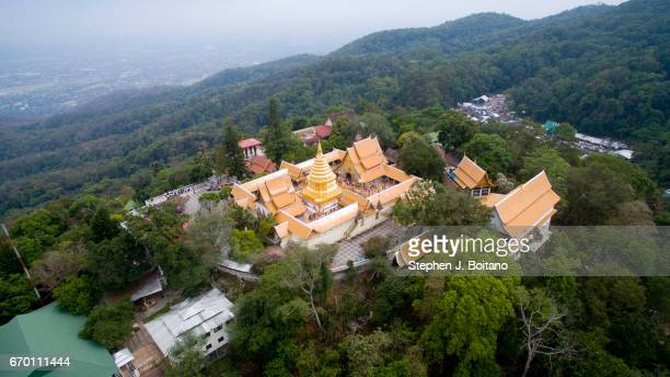 Aerial drone view over Wat That Doi Suthep in Chiang Mai It is a buddhist temple located on a hill overlooking the city