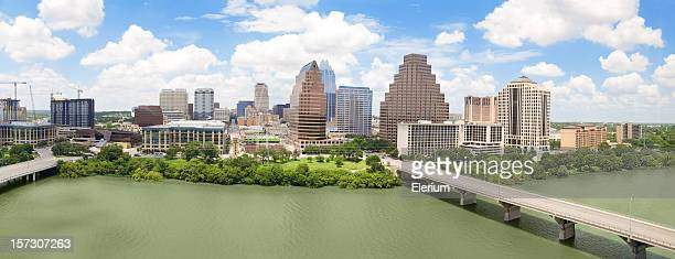 Aerial far view of municipality of Austin Texas