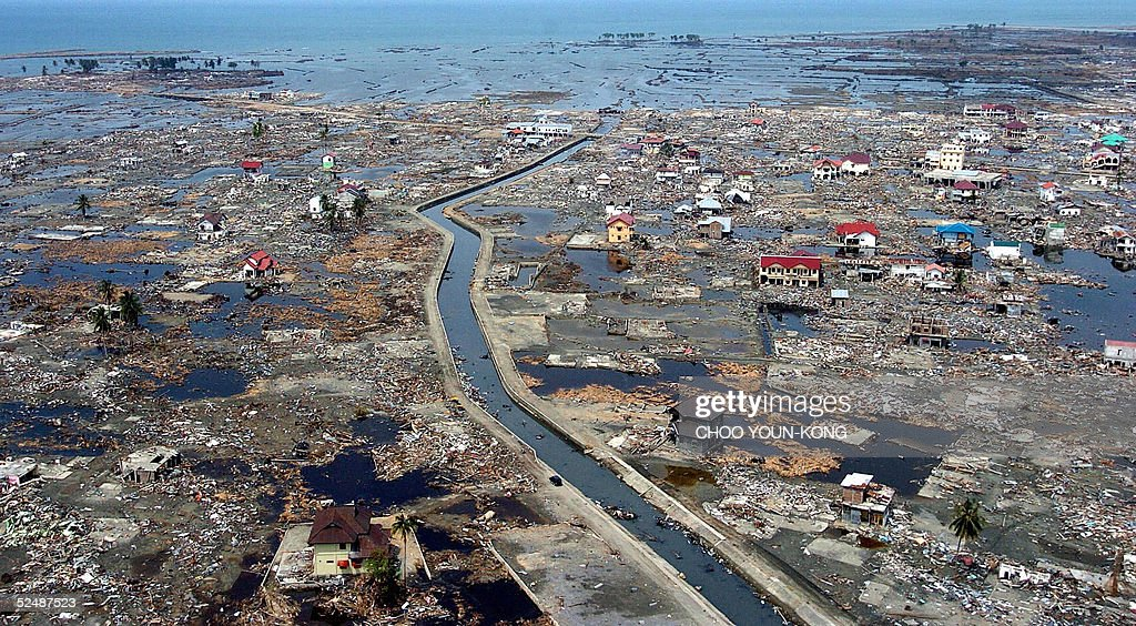 Aerial file photo shows a coastal area of Banda Aceh 05 January 2005 two weeks after a powerful tsunami hit the region on December 26 2004 following...