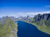 Breathtaking aerial view of fjord on Lofoten islands in Norway