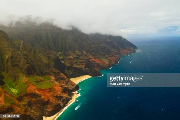 Aerial from Helicopter of Na Pali Coast on Kauai