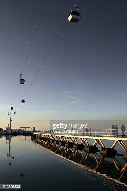 Aerial gondolas over river and bridge walkway
