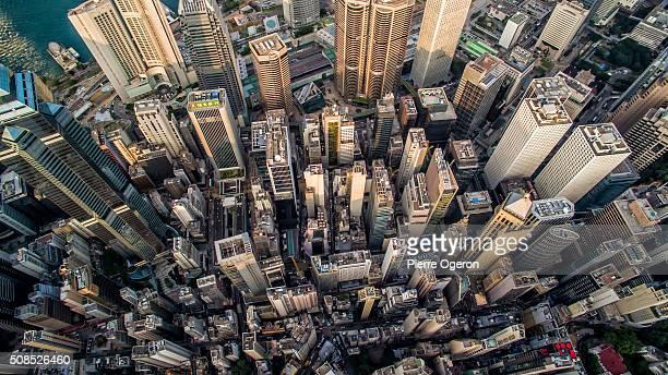 Aerial Hong Kong buildings