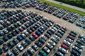 Aerial drone photo of a car junk yard