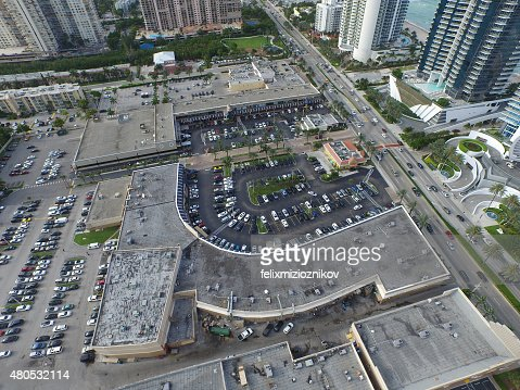 Aerial image of a shopping center : Stock Photo