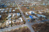 Aerial drone shot of homes destroyed in the Florida Keys Hurricane Irma