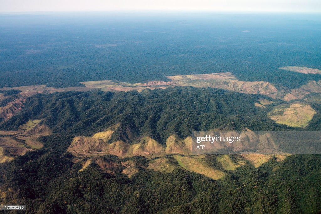 Aerial image of the deforestation next to Indio's reservation area in Para state, northern Brazil, on August 9, 2013.