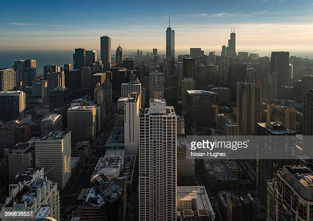 Aerial in middle of skyscrapers in Chicago IL