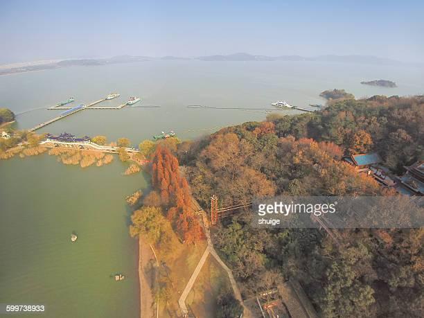 Aerial island in taihu lake