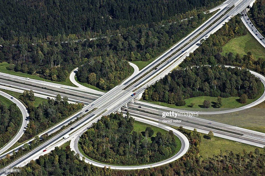 Aerial junction around Munich : Stock Photo
