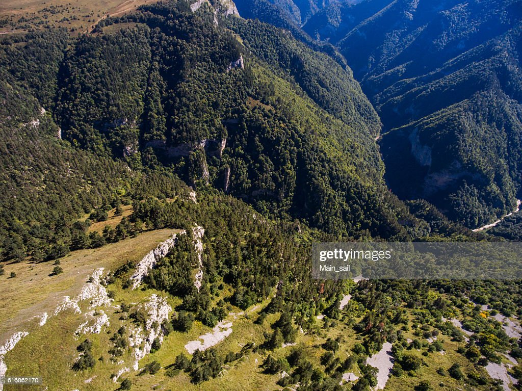 Aerial landscape of mountain valley. : Stock Photo