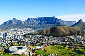Aerial landscape of Table mountain in Cape Town