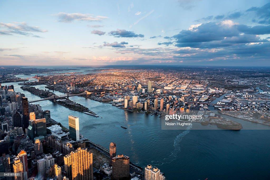 Aerial looking East from East side of Midtown NYC