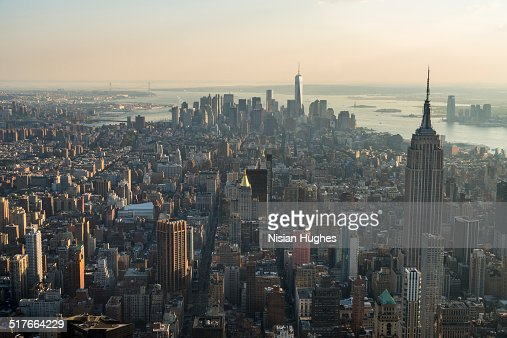 Aerial looking south over Manhattan from Midtown