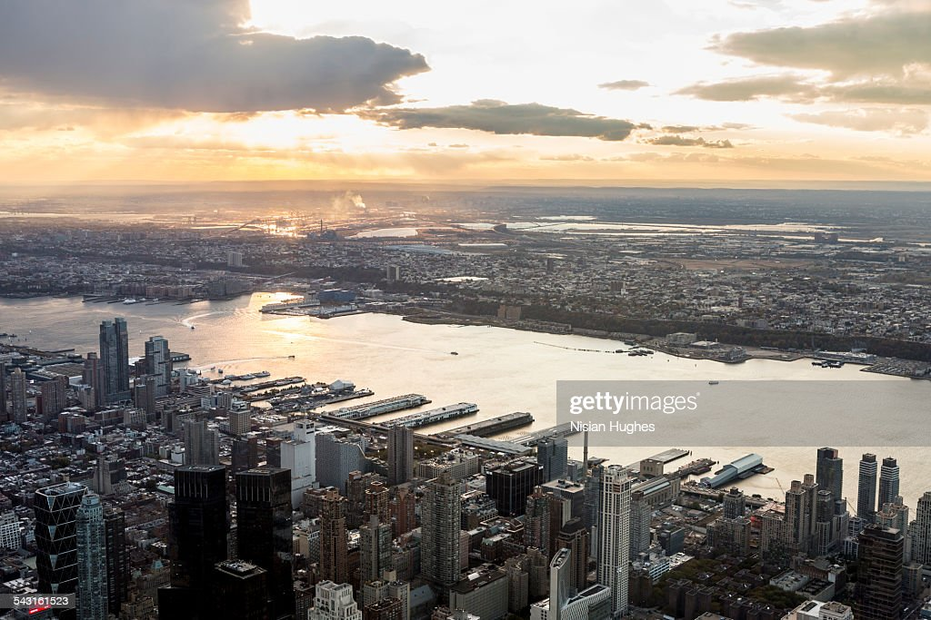 Aerial looking west over Hudson river in NYC