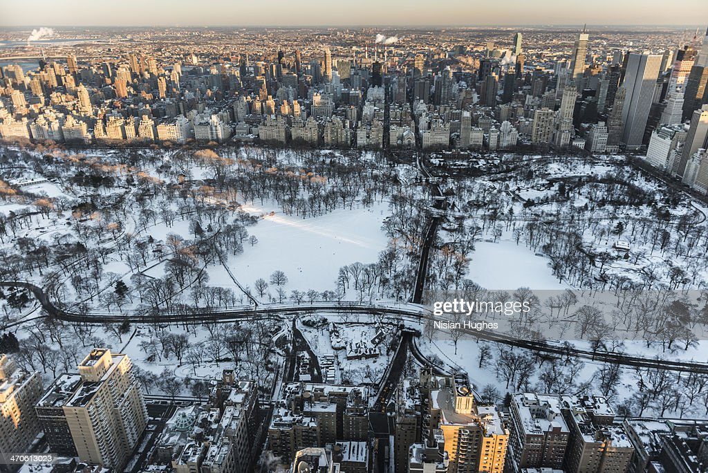 Aerial New York City, Central Park in the snow : Stock Photo