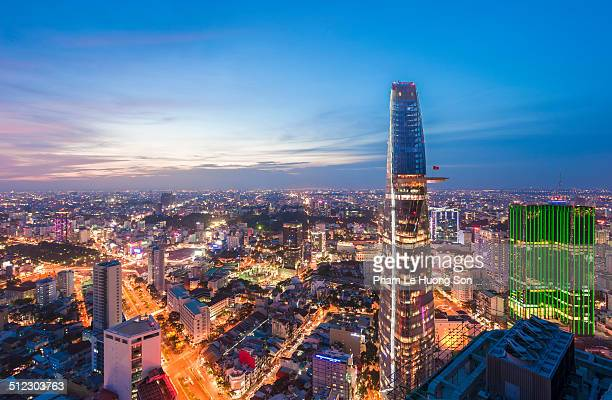 Aerial night view of colorful and vibrant city