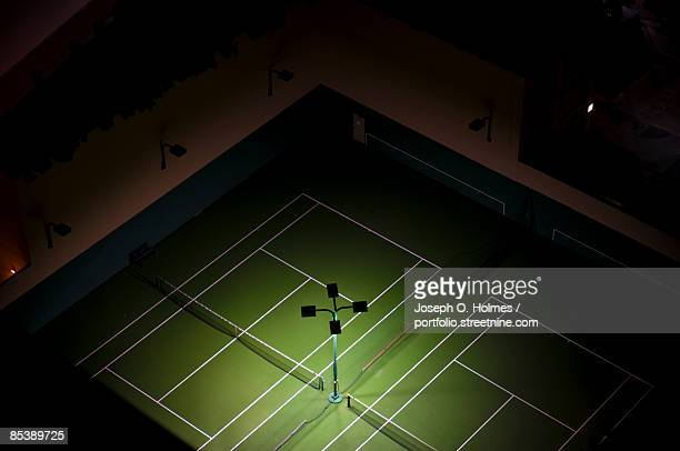 Aerial Night View of Emtpy Tennis Court