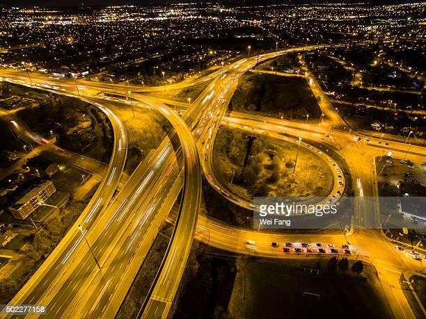 Aerial Night View of Highway Interchange