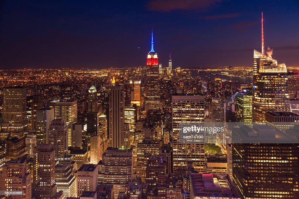 Aerial night view of Manhattan skyline  New York - USA : Stock Photo