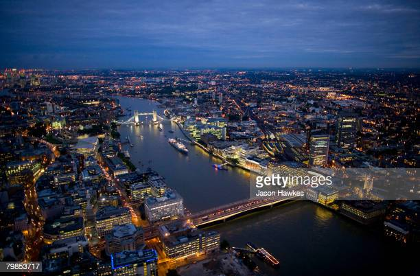 Aerial night view of Tower Bridge and London Bridge on August 6 2007 in London