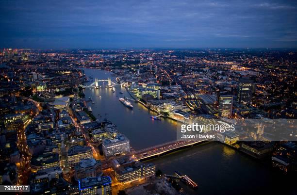 Aerial night view of Tower Bridge and London Bridge on August 6 2007 in London