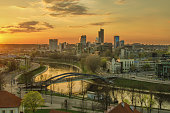 Aerial night view of Vilnius (capital city of Lithuania)