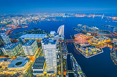 Aerial night view of Yokohama Cityscape at Minato Mirai waterfront district.