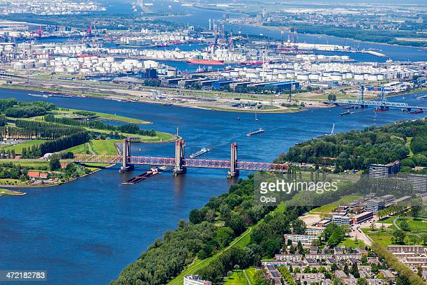 Aerial of a bridge crossing river