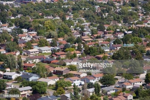 aerial of a residential neighborhood