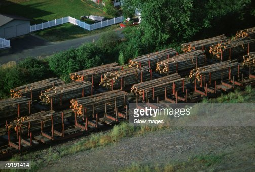 Aerial of a trainload of sawmill logs, Idaho : Foto de stock