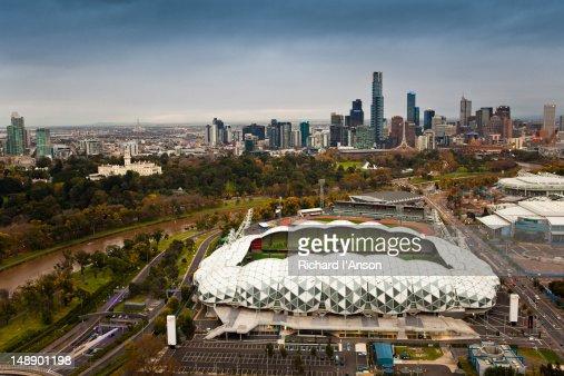 Aerial Of Anz Stadium At Homebush Bay Olympic Park Stock Photo