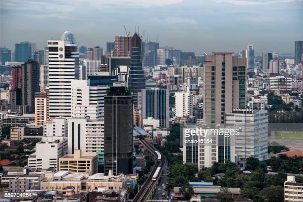 Aerial of Bangkok city in Southeast Asia.