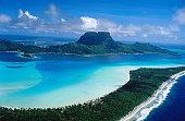 Aerial of Bora Bora Lagoon.