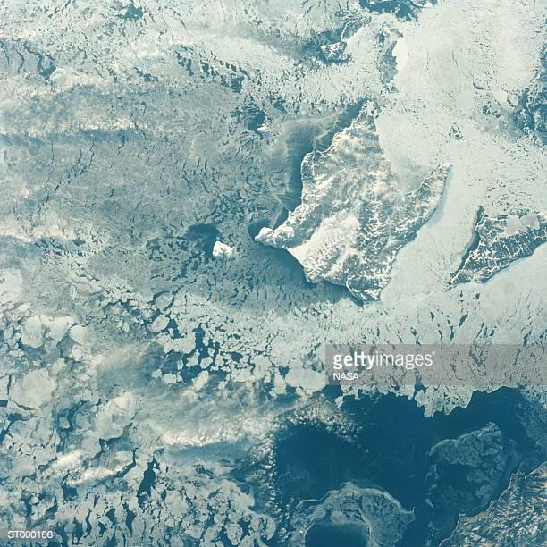 Aerial of Breakup of Winter Ice Pack