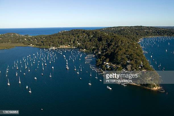 Aerial of Careel Bay, New South Wales, Australia