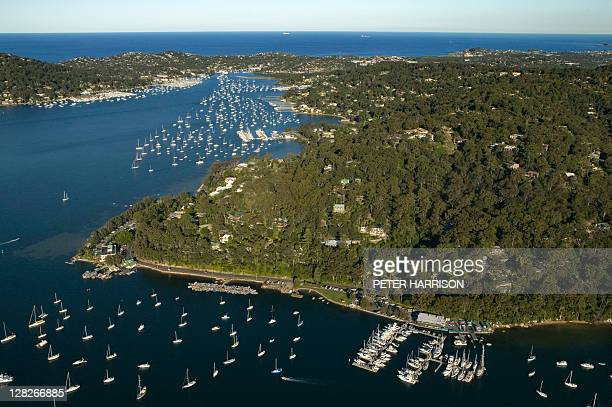 Aerial of Church Point, New South Wales, Australia