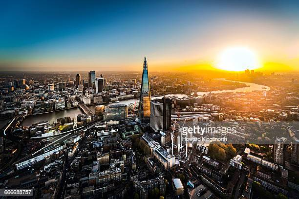 Aerial of City of London at sunrise
