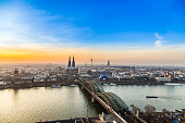 aerial of city of cologne in sunset