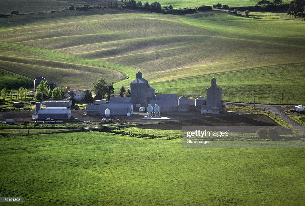 Aerial of farm grain elevators : Stock Photo