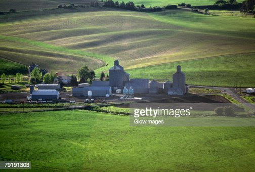 Aerial of farm grain elevators : Stock Photo