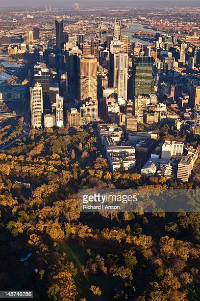 Aerial of Fitzroy Gardens and central business district.
