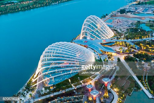 Aerial Of Flower Dome And The Cloud Forest Conservatories Gardens