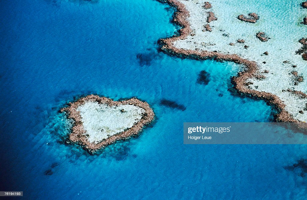 Aerial of heart-shaped reef, Hardy Reef, near Whitsunday Islands, Great Barrier Reef, Queensland, Australia, Australasia : Stock Photo
